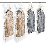 TAILI 吊るせる衣類圧縮袋 圧縮パック 衣類収納袋 4枚セット 真空式 ダニ、カビ対策 2ロング2ショート
