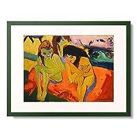 エルンスト・ルートヴィッヒ・キルヒナー Ernst Ludwig Kirchner 「Nackte Madchen unterhalten sich. 1910 (1909?)」 額装アート作品