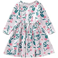 YOUNGER TREE Kids Toddler Baby Girls Fall Dresses Outfits Floral Maple Leaf Print Princess Party Tutu Skirt Ruffle Dress Winter Clothes
