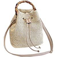 Adela Women Girls Straw Drawstring Bucket Bag Top Handle Summer Beach Weave Shoulder Bag