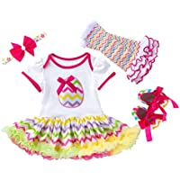 PRETYZOOM 4pcs Baby Girl Easter Costume Set Colorful Egg Tutu Dress Hair Bow Leg Warmer Shoes Outfit Set Cosplay Party Dress Up for Girls Toddlers Newborn Baby Size S