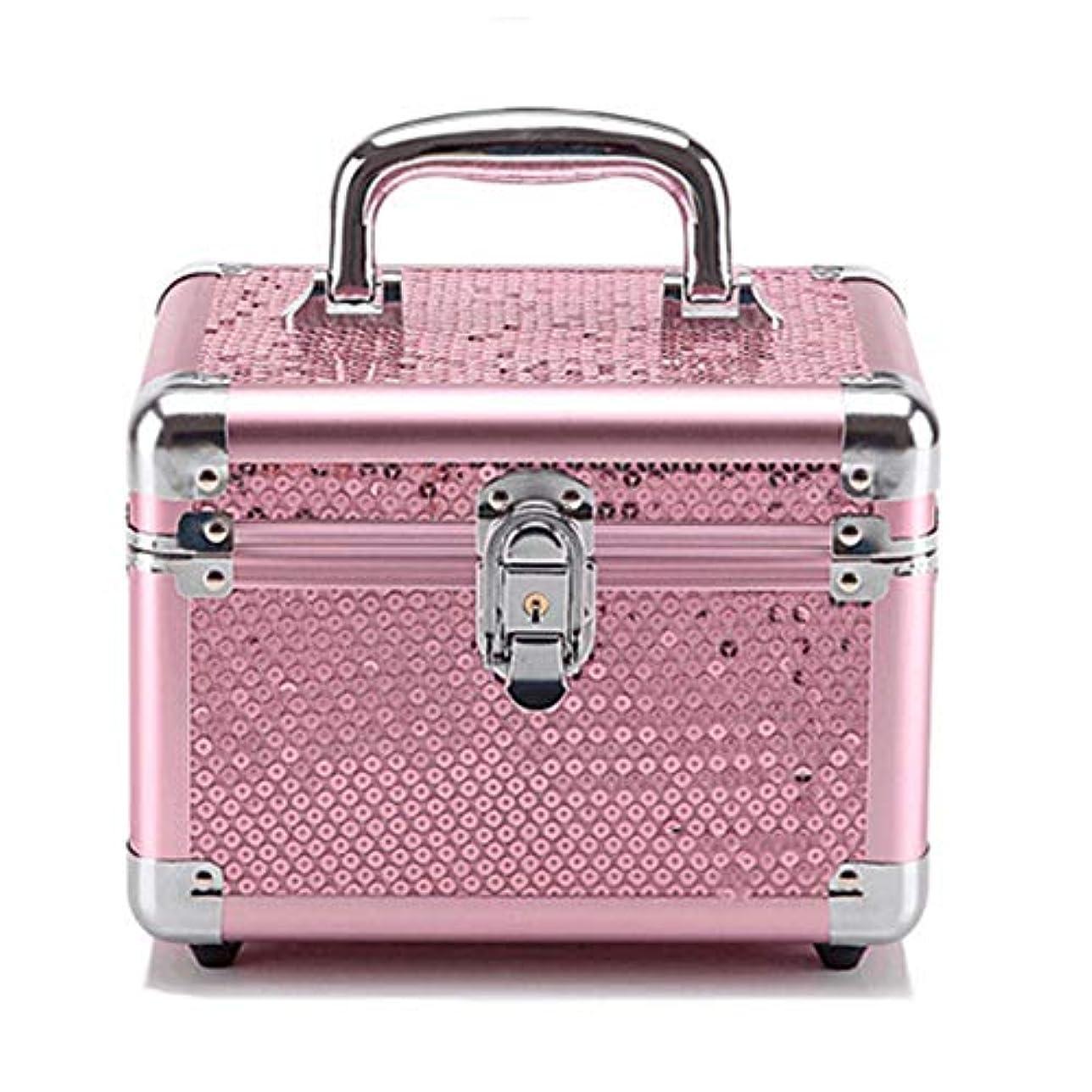 特大スペース収納ビューティーボックス 美の構造のためそしてジッパーおよび折る皿が付いている女の子の女性旅行そして毎日の貯蔵のための高容量の携帯用化粧品袋 化粧品化粧台 (色 : Rose Red(S))