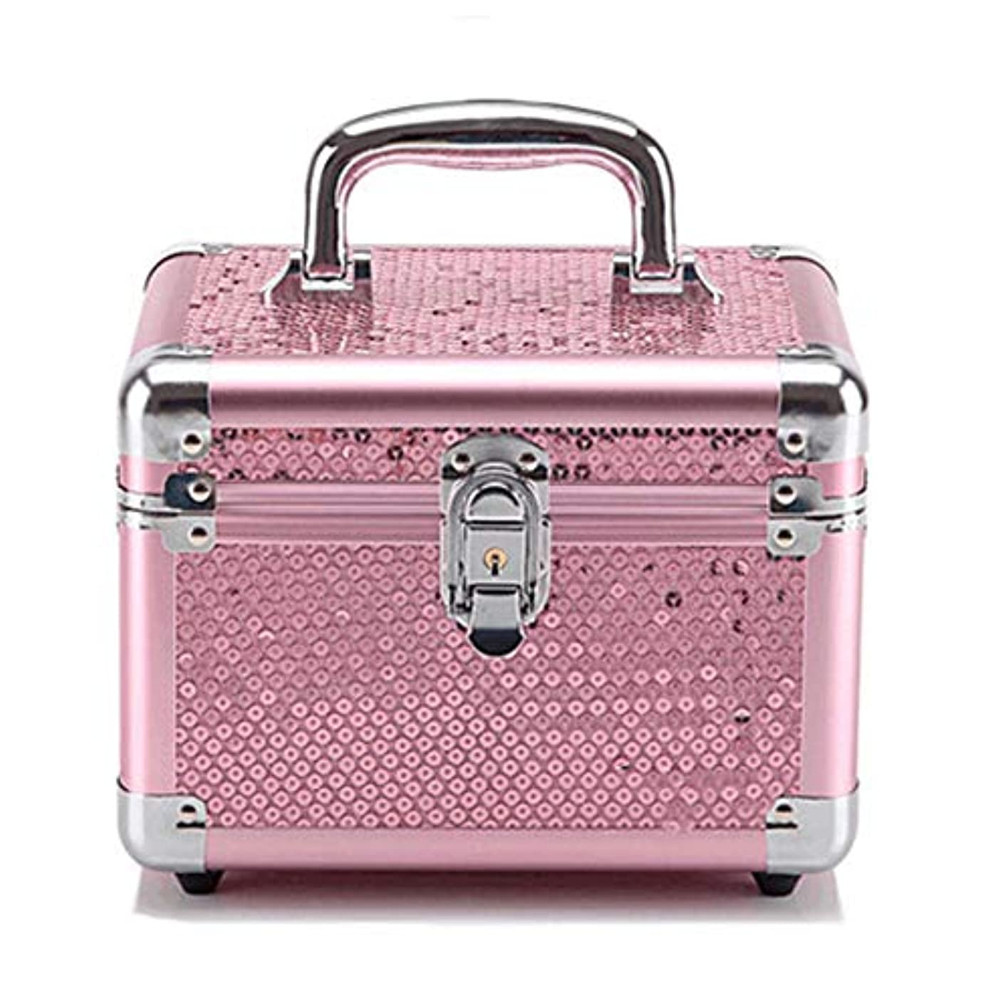 旧正月挽く作動する化粧オーガナイザーバッグ ピンクのスパンコールロック可能なメイクアップジュエリーネイルポーランドの美容タトゥーボックス美容アクセサリー収納ケース 化粧品ケース (色 : Pink(S))