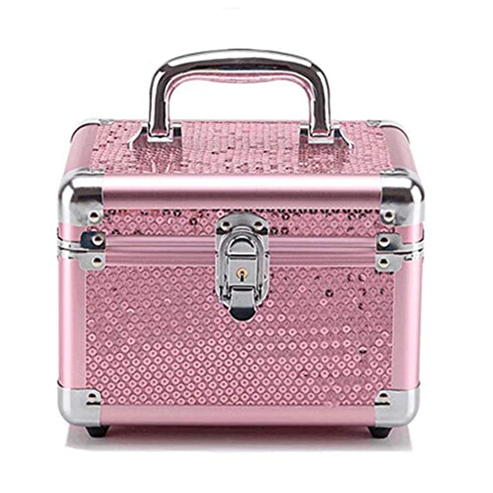すみませんイーウェル子供っぽい化粧オーガナイザーバッグ ピンクのスパンコールロック可能なメイクアップジュエリーネイルポーランドの美容タトゥーボックス美容アクセサリー収納ケース 化粧品ケース (色 : Pink(S))