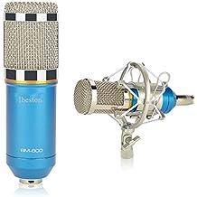 Ibeston BM-800 Condenser Sound Recording Microphone + Mic Shock Mount, Ideal for Radio Broadcasting Studio, Voice-Over Sound Studio, Recording (Blue)