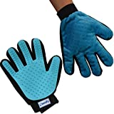 Zenify Pets Fur Grooming Glove - For Dog, Puppy, Cat, Kitten, Rabbit, Horse - Dual Sided 2-in-1 Upgrade Version Machine Washable Enhanced Efficient Silicon Massage One-Size-Fits-All Gift Hair Deshedding Remover Mitt
