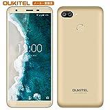OUKITEL C11PRO 4G SIMフリースマートフォン Android 8.1 携帯電話本体 5.5インチ 18:9ディス プレイ MT6739 クアッドコア スマホ デュアルSIM(Nano) 3GBRAM +16GBROM リア8MP+2MP ダブルレンズカメラ 指紋認識 3400mAh 大容量バッテリー ゴールド