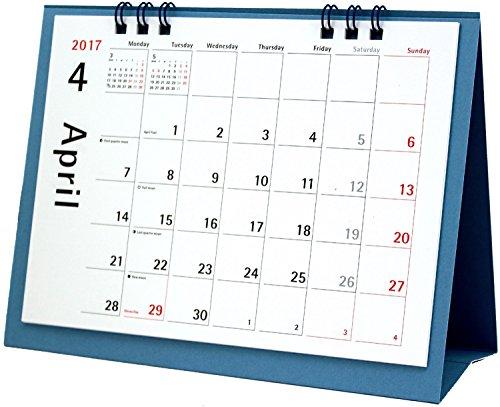 オーブ 2017年 カレンダー 4月始まり 卓上 月曜始まり ブルー CKS-600BL