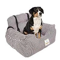 TOPONE犬用カーシートベッド、暖かく洗える犬旅行用フロントブースターシートベッド収納ポケット付き((コーヒー/ホワイト)