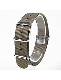 NATMK 時計ベルト 20mm NATO 替えバンド グレー ナイロン ストラップ 取付マニュアル付