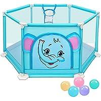 青い幼児の遊び場5つのボール安全な赤ちゃんの遊び場とバスケットボールのフープ屋外アクティビティセンターキッズオーシャンボールプール (サイズ さいず : L l)