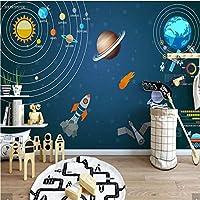 Weaeo 3D手油絵宇宙の壁紙壁の壁のステッカー3 D壁のペーパーロールボーイズの部屋キッズベッドルームの壁画カスタム-150X120Cm