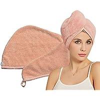 HOPESHINE Hair Drying Towels Microfiber Soft Twist Hair Turban Wrap Fast Drying Cap Great Gift for Women (MistyRose)
