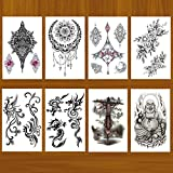 Dragon Phoenix Temporary Tattoos Flowers Tattoo Sticker Sexy Waterproof Body Art - 8 Sheets