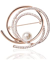 TAGOO Multi Circles Crystal Pearl Brooches Pins Scarf Clips Corsages for Women&Girls (D)