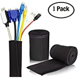 Cable Management Sleeve, Cable organizer from YaFex 80inch 203cm Premium Neoprene Cable Tidy for PC/Home Theater/Speaker Home Entertainment Center, Audio Wire Hider Concealer Organizer Protector
