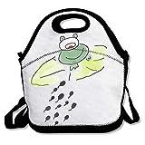 【オタマジャクシとカエル】ランチバッグ 大容量弁当バッグ ファミリー 男女兼用 通勤 通学 面白い創意柄 アニマル 可愛いバッグ