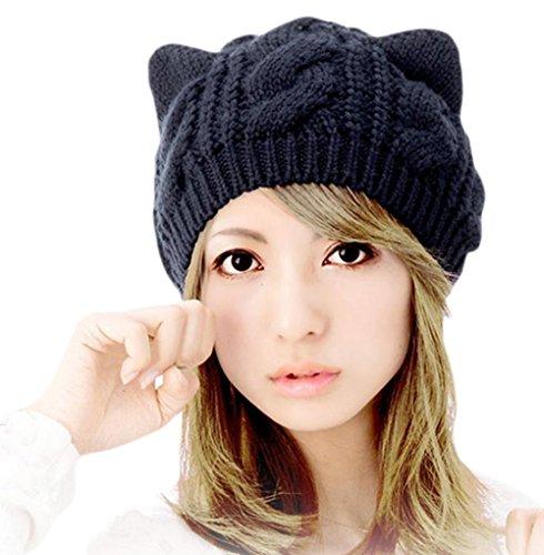 (チ-ンスン) Qingsun 秋冬韓国風 かわいい 編み 猫耳 ベレー帽 ニット帽 レディース 暖かい帽子 秋冬 女の子 ブラック 54-58CM