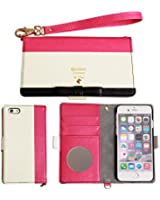 iPhone6s iPhone6 ケース 手帳型 カバー trouver Quince カード収納 鏡 ストラップ / ピンク / ホワイト