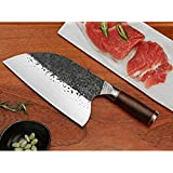 Hand Forged Professional Kitchen Chef Knife, Serbian Butcher Chopper Boning High Carbon Stainless Steel and Ergonomic Handle