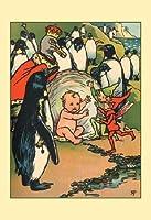 """""""妖精、ペンギンand a Baby """"印刷(ブラックフレーム入りポスタープリント20x 30)"""