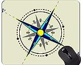 コンパスマウスパッド滑り止め、アンティークマップリバー、ランドコンパスマウスパッド Yanteng YT190718-3-Q4
