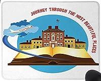 青と白の山のシルエットのコレクション火山川と雲漫画ダークブルーホワイトマウスパッド楽しいゲーミングマウスパッド、滑り止めマウスパッド