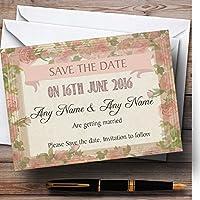 Shabby Chic Vintageピンクローズ古いフレームPersonalized結婚を保存日付カード 10 Invitations