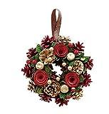 丸和貿易  クリスマス リース ゴールドパインローズ  (S)  壁掛け  玄関飾り    4008736-01