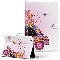 MediaPad M3 Lite 10 HUAWEI ファーウェイ タブレット 手帳型 タブレットケース タブレットカバー カバー レザー ケース 手帳タイプ フリップ ダイアリー 二つ折り ラブリー 花 フラワー 車 プレゼント 006693
