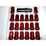 盗難防止 カラー 選べる ホイール ロック ナット M12 × P1.5 20個 セット (レッド)