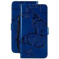 LAYBOMO カバー 対応 Samsung Galaxy A20e A202F ケース 手帳型 かわいい蝶 高級PUレザー マグネット スタンド機能 カード収納付き 軽量 薄型 耐衝撃 耐摩擦 スマホケース 財布型カバー Galaxy A20e (青)