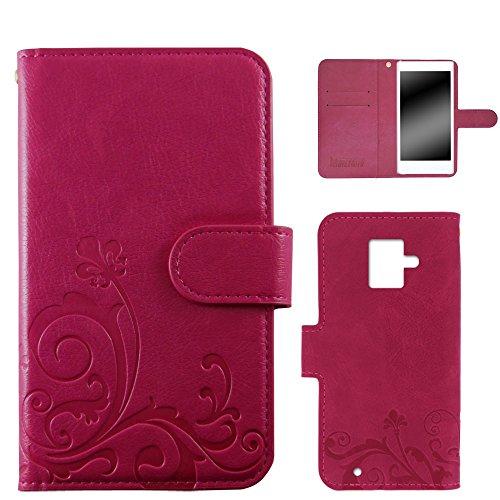 whitenuts らくらくスマートフォン2 F-08E ケース 手帳型 エンボスデザイン ピンク/百合 カード収納 ストラップホール スタンド機能 WN-OD281928