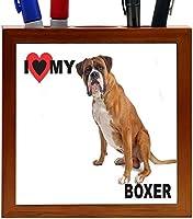 Rikki Knight I Love My Boxer Dog Design 5-Inch Tile Wooden Tile Pen Holder (RK-PH44792) [並行輸入品]