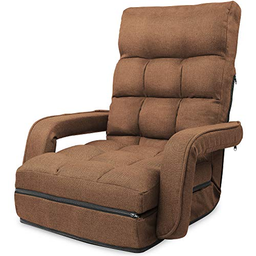 WLIVE 座椅子 ひじ掛け付き 肘掛け連動 42段階リクライニング 4WAY折り畳み 脚置き ハイバック 一人掛け ふあふあフロアチェア 静電気防止生地 幅50cm 一人暮らし ブラウン MF0043B