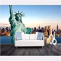 Wuyyii カスタムリビングルーム寝室壁画無料女神ニューヨーク市壁画背景壁ソファテレビ装飾画-350X250Cm