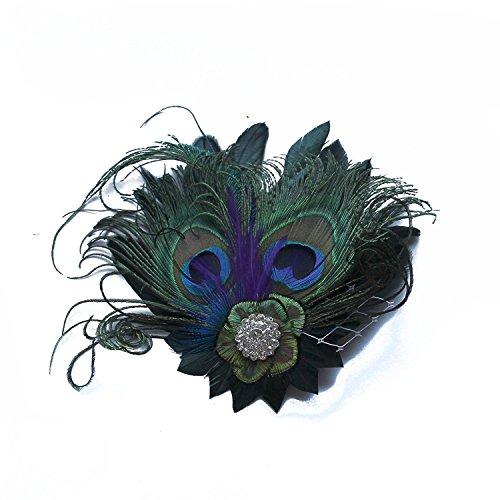 BL-JP レディース  髪飾り 孔雀の羽 クリスタル ヘアアクセサリー クリップ ヘッドドレス 浴衣 結婚式 写真 演出 パーティー