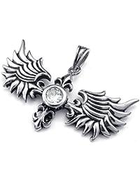 [テメゴ ジュエリー]TEMEGO Jewelry メンズステンレススチールヴィンテージペンダント天使の翼ネックレスチェーン、ブラックシルバー[インポート]