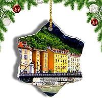 Weekinoフランスグルノーブルアルプスクリスマスオーナメントクリスマスツリーペンダントデコレーション旅行お土産コレクション陶器両面デザイン3インチ