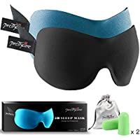 3D Sleep Mask (New Design by PrettyCare with 2 Pack) Eye Mask for Sleeping - Contoured Eyemask Silk - Blindfold Airplane with Ear PlugsTravel Pouch - Best Night Blinder Eyeshade for Men Women Kids