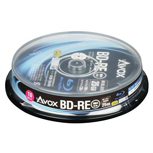 AVOX ブルーレイディスク BD-RE 繰り返し録画用 25G 1-2倍速 10枚 スピンドルケース BE130RAPW10PA