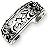 Lex & Lu Sterling Silver Antiqued Flower Toe Ring