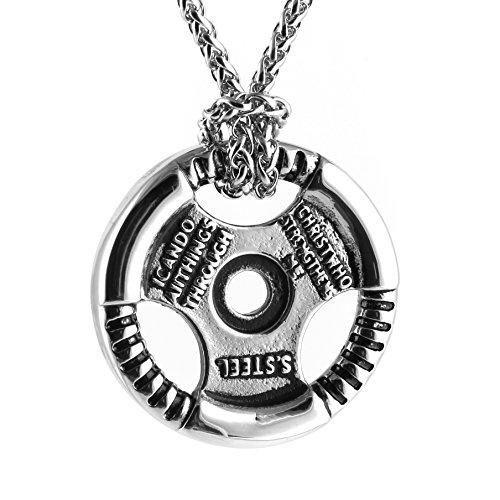 """[해외]HZMAN 남성 스테인레스 스틸 Fitness 체육관 아령 무게 플레이트 바벨 체인 펜던트 목걸이 24 """"inch/HZMAN Men`s Stainless Steel Fitness Jim Dumbbell Weight Plate Barbell Chain Pendant Necklace 24 """"inch"""