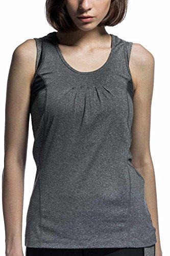 レディース タンクトップ 伸縮 速乾 フィットネスシャツ フォレスト グレー M