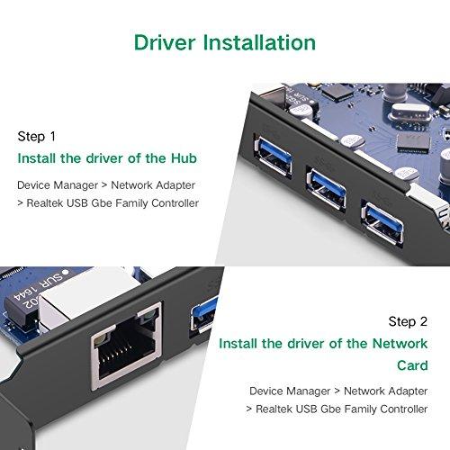 UGREEN USB 3.0 3ポートハブとLANポート増設 インターフェースボード PCI-Express x1/x2/x4/x8/x16 接続 PCI-E 拡張ボード 1000Mbpsギガビット対応LANボード デスクトップ パソコン拡張用