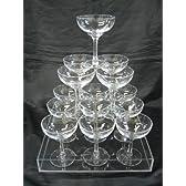 シャンパンタワー3段用セット グラス14個 トレー付