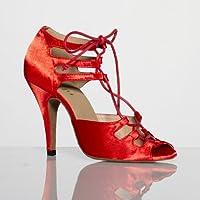Burju WomenÕsファッションダンスシューズLa ALEMANAサテン4インチスティレット、4インチStiletto カラー: レッド