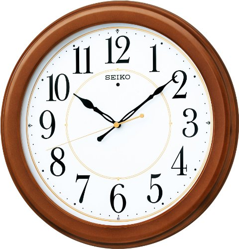 SEIKO CLOCK (セイコークロック) 掛け時計 電波 アナログ 木枠 茶木地 KX388B