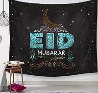 Chuanxd トルコの壁掛け布装飾ポリエステル毛布イードムバラクタペストリー幸せなイスラムテンチュア壁画ホームルームの装飾-150X130Cm