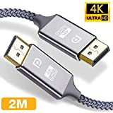 DisplayPort Cable 2M, Snowkids 4K Displayport to Displayport Cable(4K@60Hz, 1440p@144Hz) Nylon Braided High Speed DP Code, 4K Video Resolution Ready for TV Gaming Streaming PC Monitor,Laptop -1 Pack